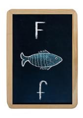 letter F on blackboard