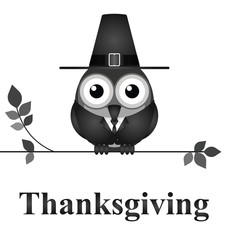 Comical bird Thanksgiving Day message