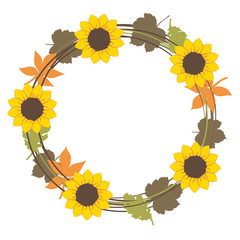 autum floral wreath sunflowers