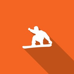 Long Shadow with an Icon of Snowboarder