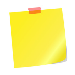 Yellow note paper on a white background