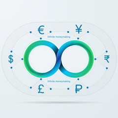 Vector infographic for infinite moneymaking with Mobius stripe