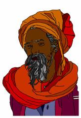 indiano con turbante su sfondo bianco