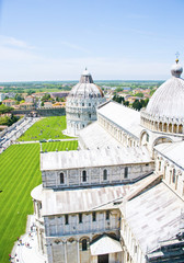 Church view from the top of the Duomo of Pisa - Italy