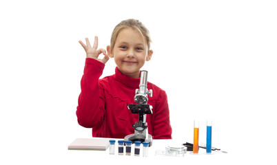 young scientist showing gesture that everything is good