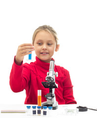 young researcher holding a test tube