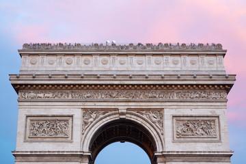 Arc de Triomphe in Paris, roof top at dusk