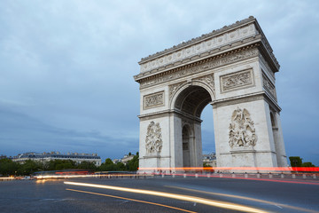 Triumphal Arch in Paris in the evening