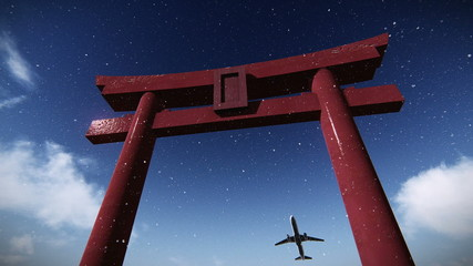 Airplane flying over a torii - Japanese Ceremonial gate