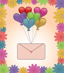 Balloons with love letter