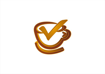 Coffee cup shape vector design template. Cafe emblem icon.