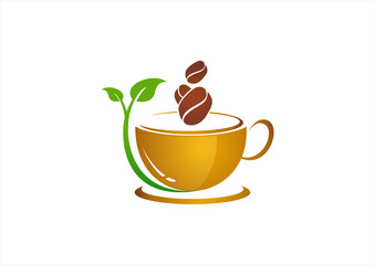 coffee bean natural, stylized vector icon