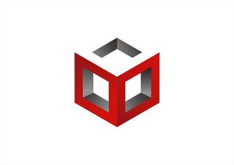 Abstract Technology logo template. Logic 3D cube