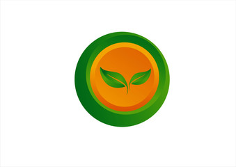 Modern eco-sun and leaves icon such logo 3D