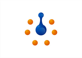 Abstract molecule dna technology logo template