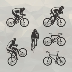 Cyclist icons. Vector format