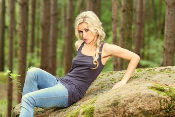 nice blond girl in the woods
