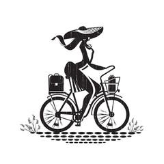 Girl on bike. Vector format