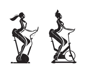 Gym. Exercise Bike. Vector format