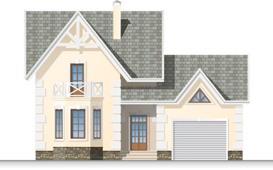 Beautiful house with a mansard and garage. Facade.