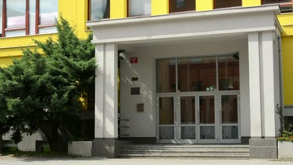 main entrance to modern building (school):exterior