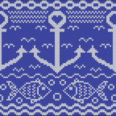 Knitted seamless pattern with anchors and fishes