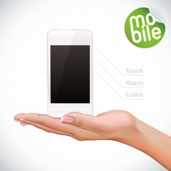 Vector Hand Holding Touchscreen Mobile Phone