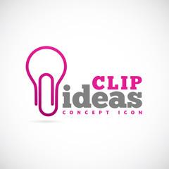 Clip Ideas Vector Concept Symbol Icon or Logo Template