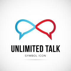 Unlimited Talk Vector Concept Symbol Icon or Logo Template