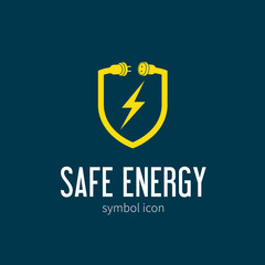 Safe Energy With Blizzard Vector Concept Symbol Icon or Logo