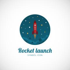 Rocket Launch Vector Concept Symbol Icon or Logo Template