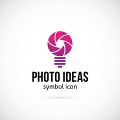 Photo Ideas Vector Concept Symbol Icon or Logo Template