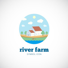 Eco River Farm Flat Style Vector Concept Symbol Icon or Logo