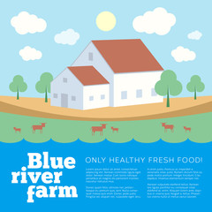 Blue River Farm Flat Style Vector Background