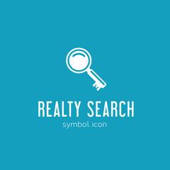 Realty Search Vector Concept Symbol Icon or Logo Template