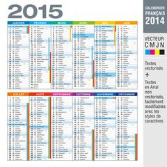 Calendrier français 2015 avec vacances scolaires