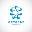 Octopus Pad Vector Concept Symbol Icon or Logo Template - 69097001