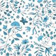 Flower Seamless Pattern Blue Vector