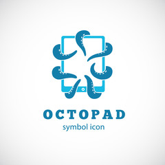 Octopus Pad Vector Concept Symbol Icon or Logo Template