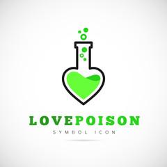 Love Poison Vector Concept Symbol Icon or Logo Template