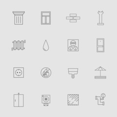 Construction and Development Line Style Vector Icon Set for