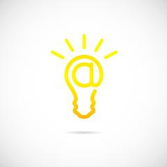 E-mail Sign Light Bulb Vector Concept Symbol Icon or Logo