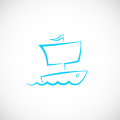 Sailing Boat Hand Drawn Vector Symbol Icon or Logo Template