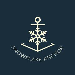 Snowflake Anchor Concept Symbol Icon or Logo Template