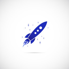 Rocket in Space Vector Symbol Icon