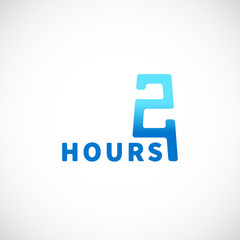 Twenty Four Hours Symbol Icon or Signboard