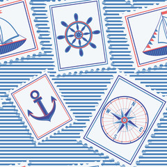 Marine seamless pattern. Background with nautical marks.