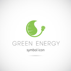 Green Energy Vector Concept Symbol Icon or Label