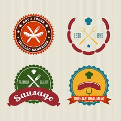 Sausage Badges Vintage Vector Set