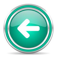 left arrow green glossy web icon